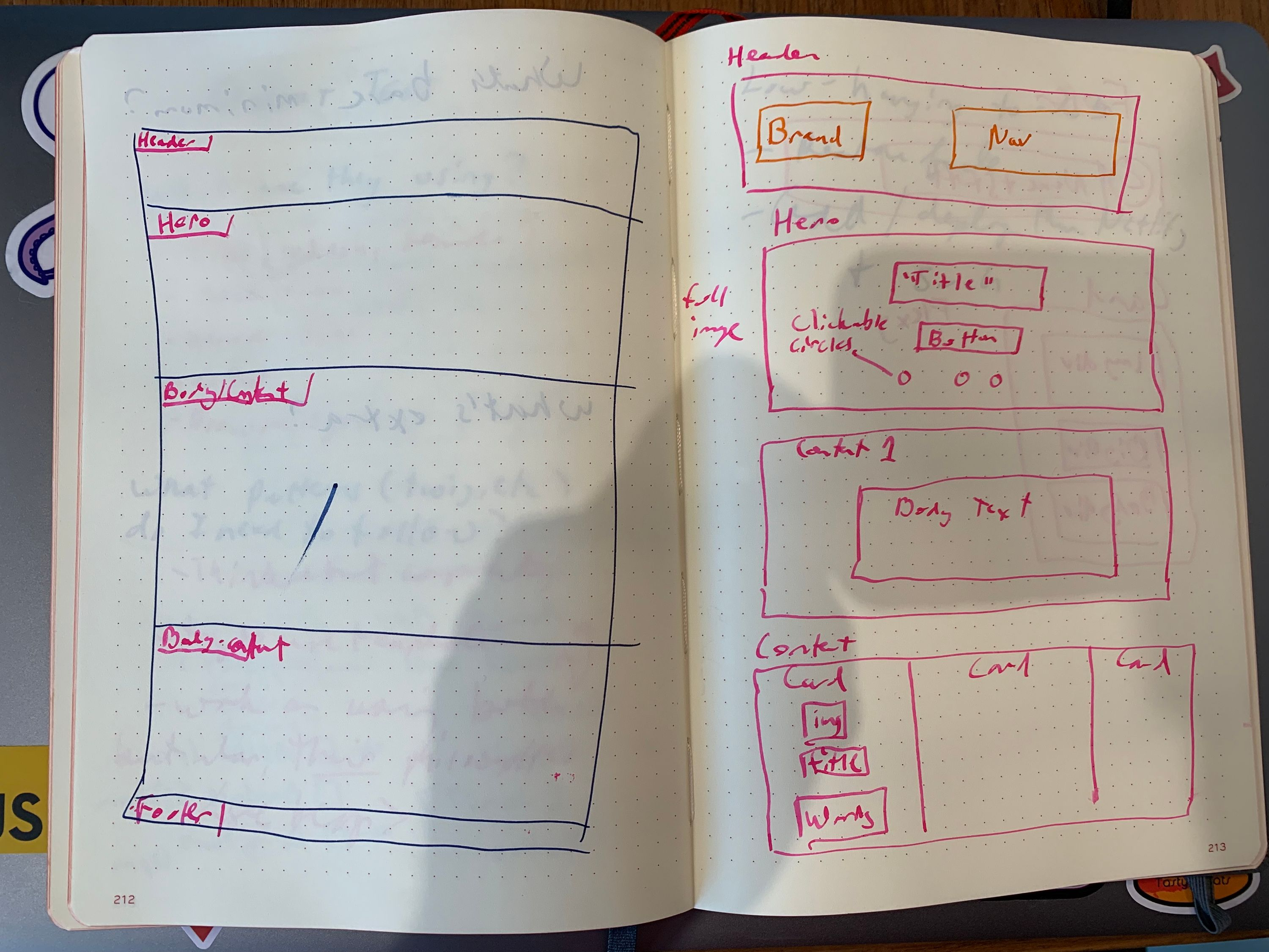 two-page notebook spread with wireframe sketches done in ink